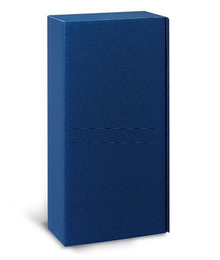 2 er Weinpräsentkarton Welle blau (versandgeignet)