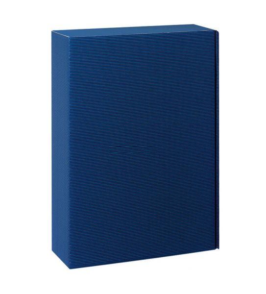 3 er Weinpräsentkarton Welle blau (versandgeignet)